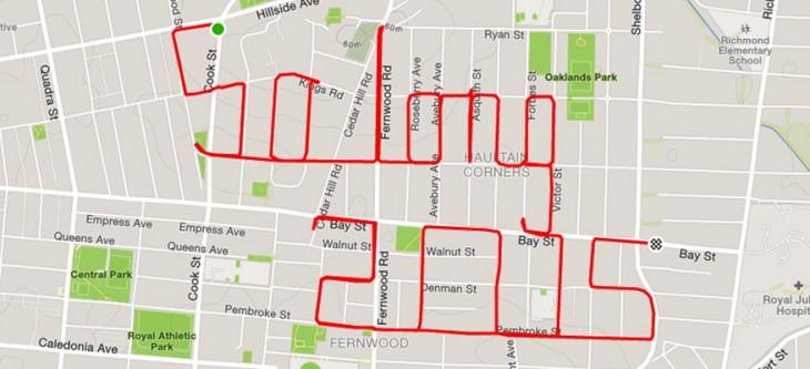 frase so long 2015 formada en un recorrido gps de un ciclista en Canadá