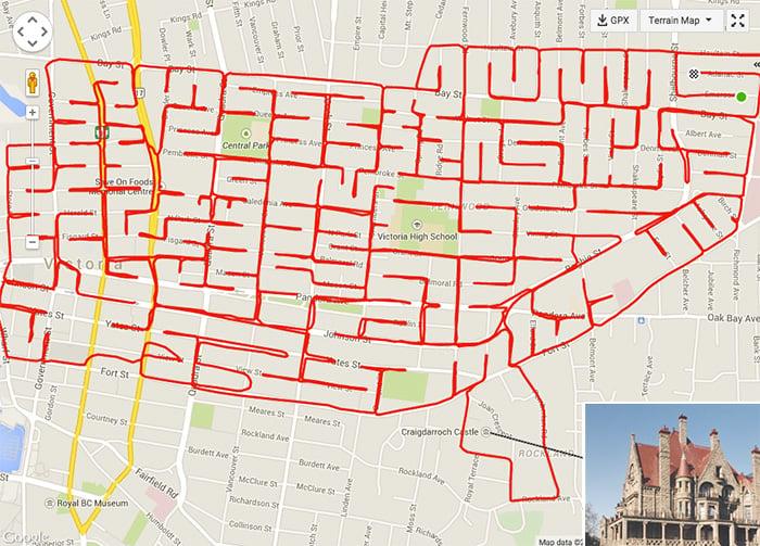Artista dibuja garabatos montado en su bicicleta con GPS