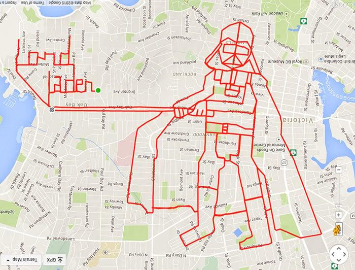 garabato de Darth Vader formado con un recorrido GPS en bicicleta
