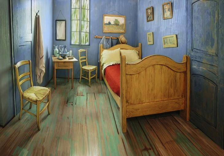 Un apartamento de Chicago decorado para parecer la pintura la habitación de Vincent van Gogh