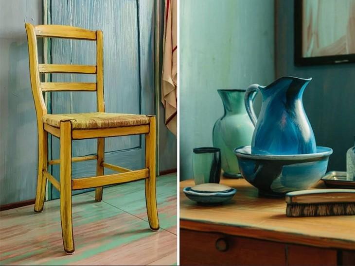 Silla y artículos de la habitación de Van Gogh en una exposición de Chicago