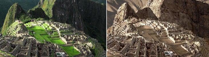Fotografía del antes y después de una sequía extrema en Machu Picchu, Perú