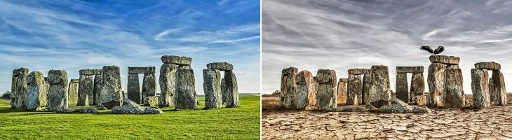 Así luciría el Stonehenge, Inglaterra ante una sequía extrema en un futuro