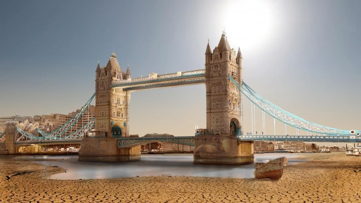 Así luciría la Tower Bridge en Londres ante una sequía extrema
