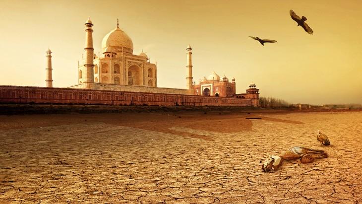 Así luciría el Taj Mahal ante una sequía extrema en un futuro