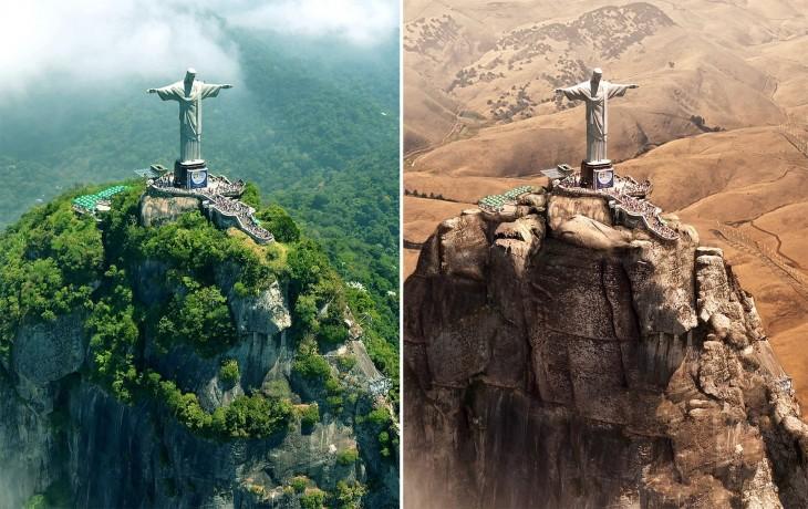 imagen comparativa del Cristo Redentor en Río de Janeiro antes y después ante una posible Sequía