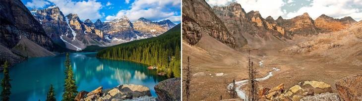 Fotografía comparativa del antes y después del Parque Nacional Banff, Canadá ante una posible sequía