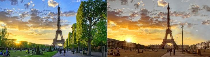 imagen comparativa del antes y después de la torre Eiffel en París ante una sequía extrema