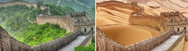 imagen comparativa del antes y después ante una posible sequía en la Gran Muralla China