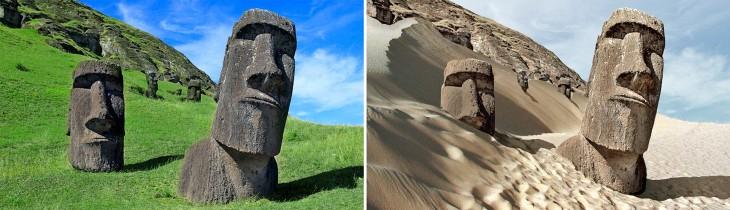 imagen del antes y después de una posible sequía en la Isla de Pascua, Chile