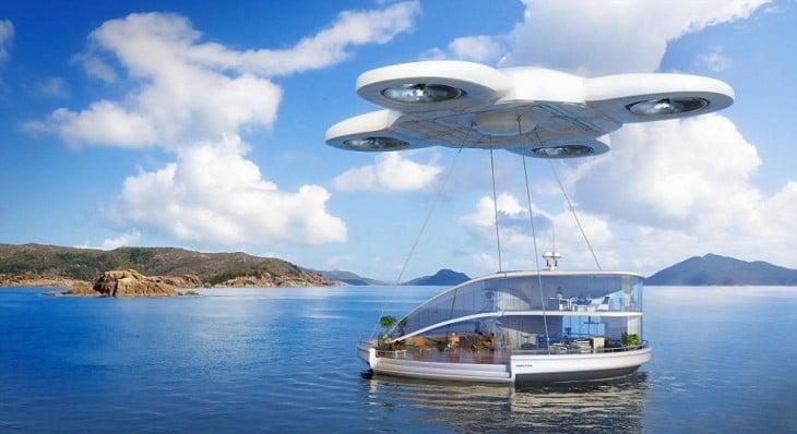 imagen de un enorme drone cargando una ciudad que esta flotando en el mar