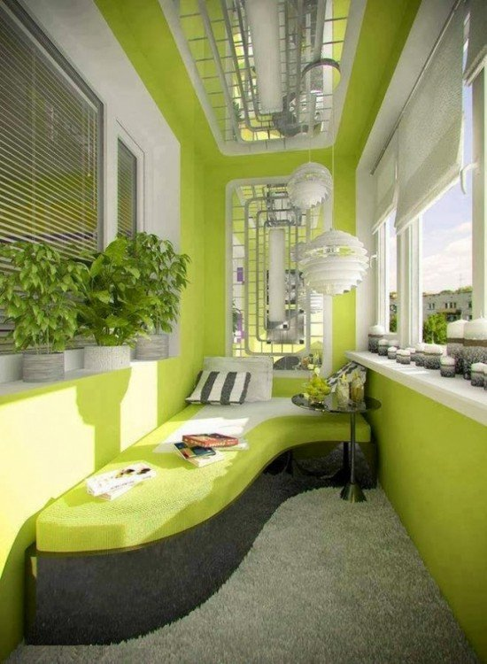 balcon verde con sillones verdes