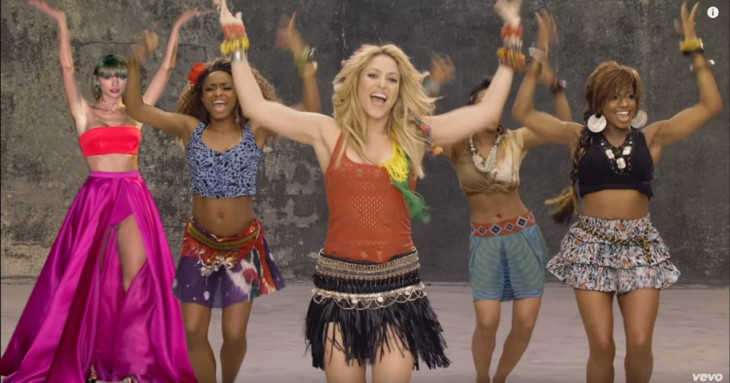 Photoshop a Taylor Swift en una escena del video Waka Waka de Shakira