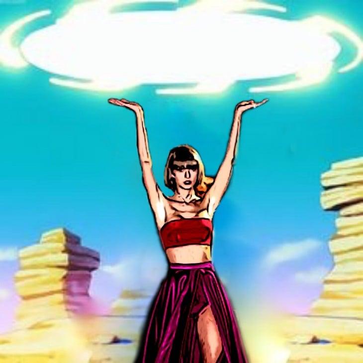 photoshop a Taylor Swift en un fondo de Dragon Ball Z