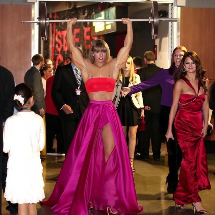 Photoshop de Taylor Swift cargando una pesa