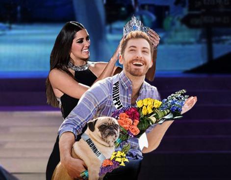 Batalla de photoshop a este hombre y su perro pug como señoritas de Miss Universo