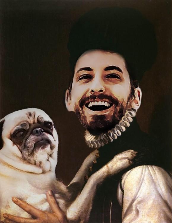 Batalla de photoshop a este hombre y su perro pug como una pintura vestidos de la edad media