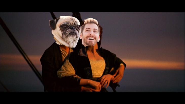 Batalla de photoshop a este hombre y su perro pug en una escena de la película el Titanic