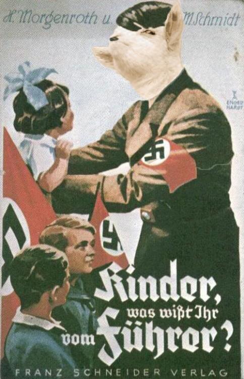 cara de la cabra presumida sobre el cuerpo de Hitler