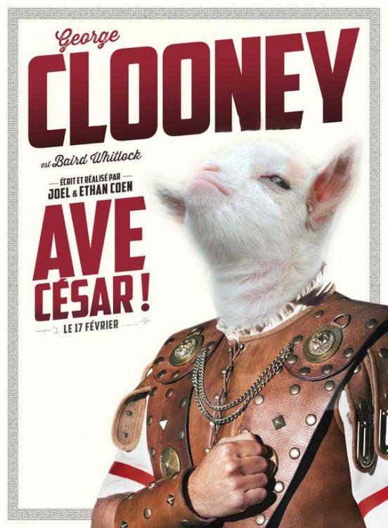 cara de la cabra presumida en un póster de la película AVE CÉSAR