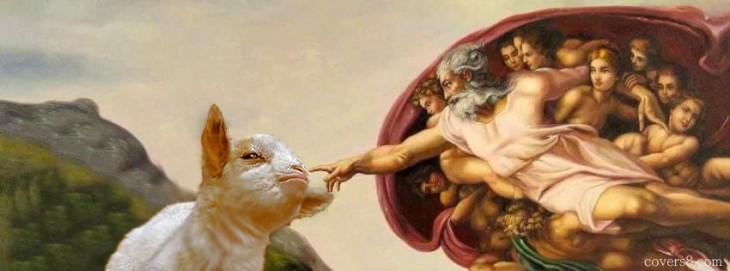cara de la cabra presumida tocada por Dios