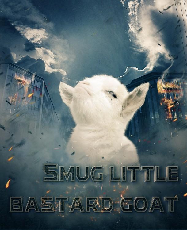 cara de la cabra presumida con photoshop de una película sobre ella