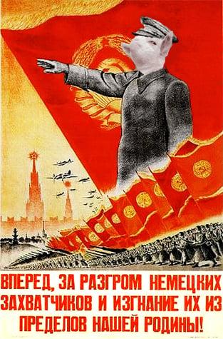 cara de la cabra presumida sobre un cartel de líder comunista