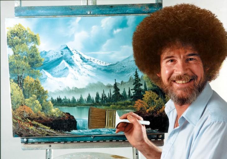 Batalla de photoshop al hombre de la barba sobre la cabeza del famoso pintor bob