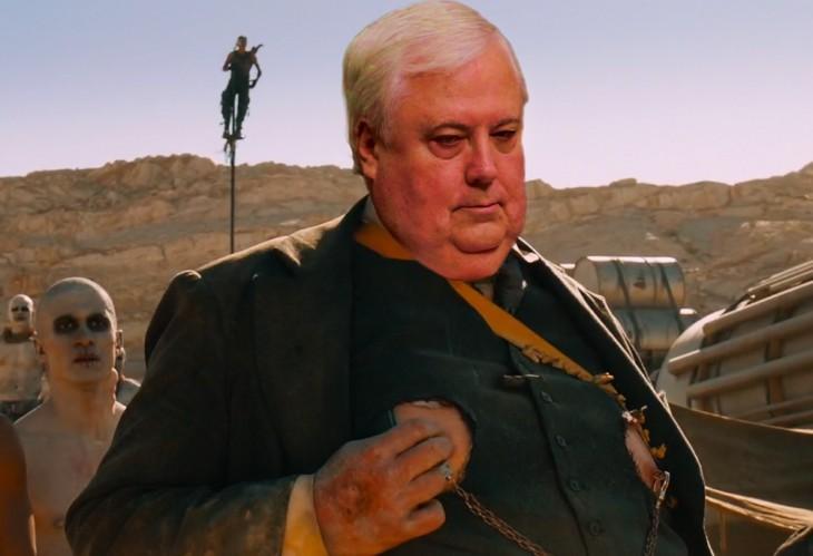 photoshop del político australiano Clive Palmer en la escena de una película