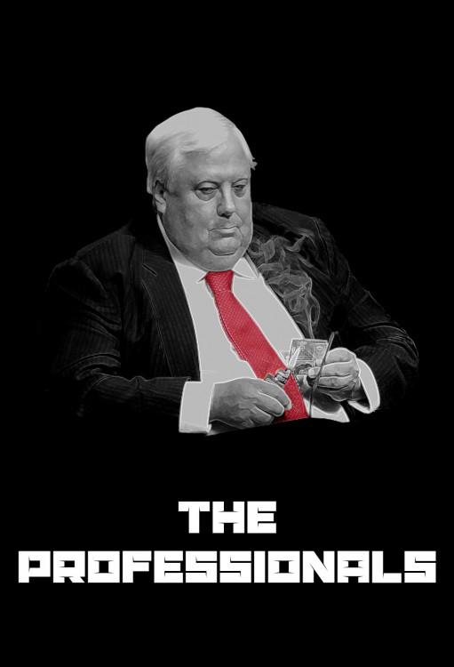 """Batalla de photoshop al político contando dinero en un póster con la frase """"The Professionals"""""""