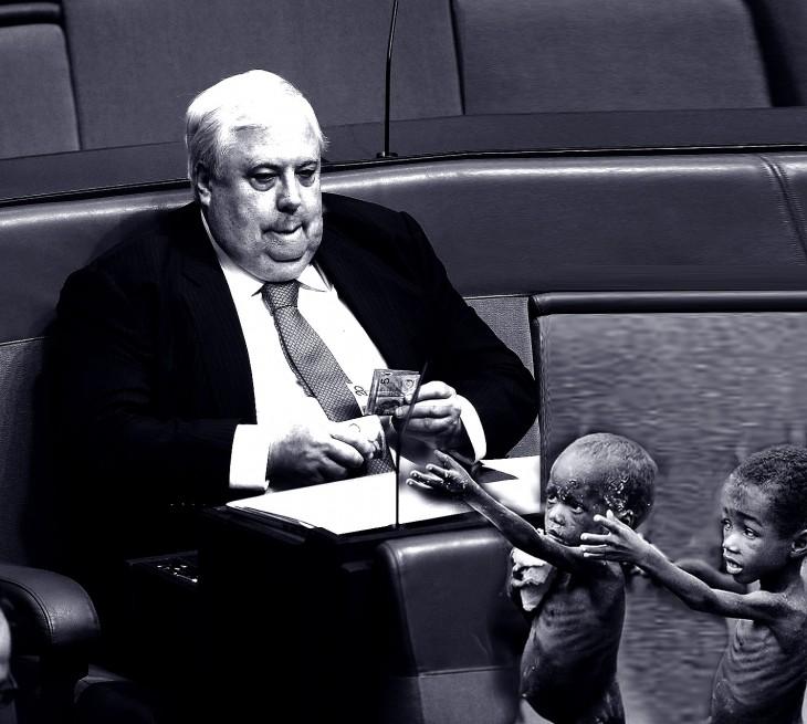 photoshop al político australiano contando dinero frente a dos niños