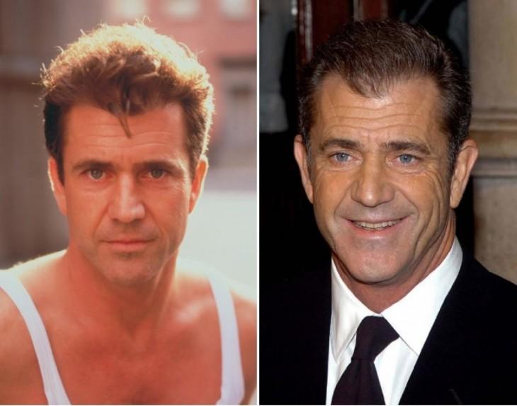 fotografía del antes y después de Mel Gibson