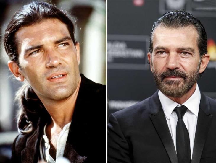 fotografías que muestran el antes y después de Antonio Banderas