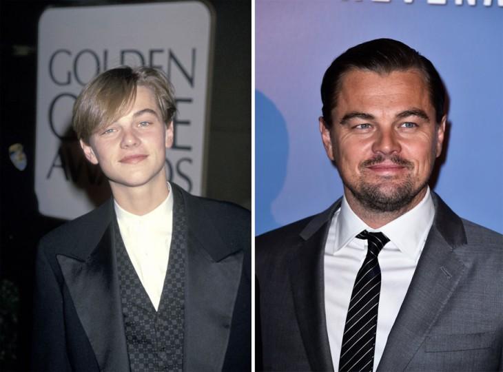 imagen del antes y después del actor Leonardo Di Caprio
