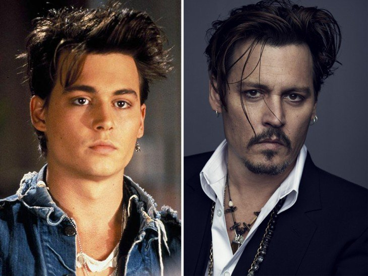 Fotografía del antes y después del actor Johnny Depp