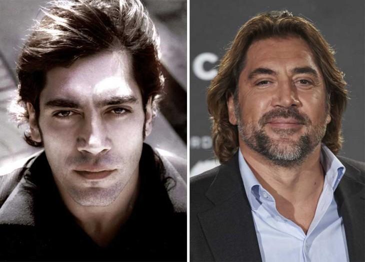 fotografías comparativas del antes y después del actor Javier Bardem