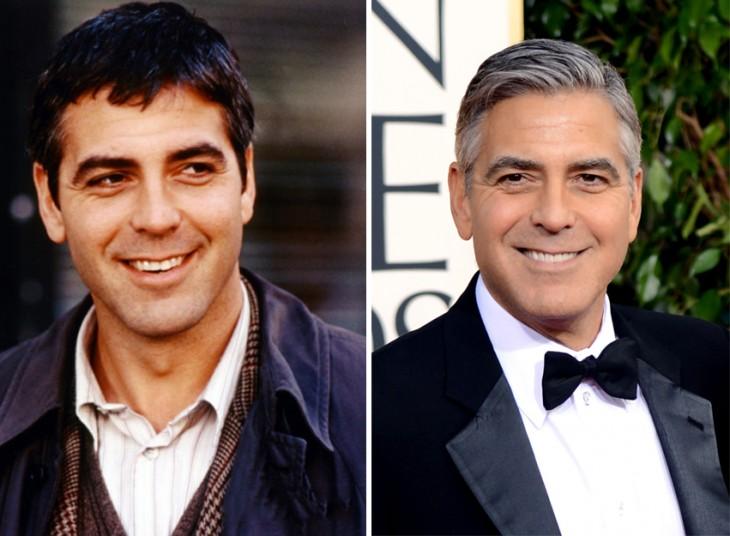 comparación de George Clooney cuando era joven y en la actualidad