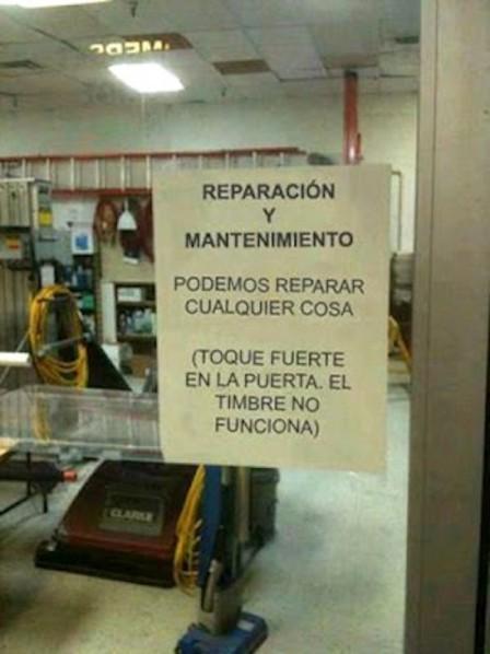 REPARACIÓN Y MANTENIMIENTO PERO NO SIRVE EL TIMBRE