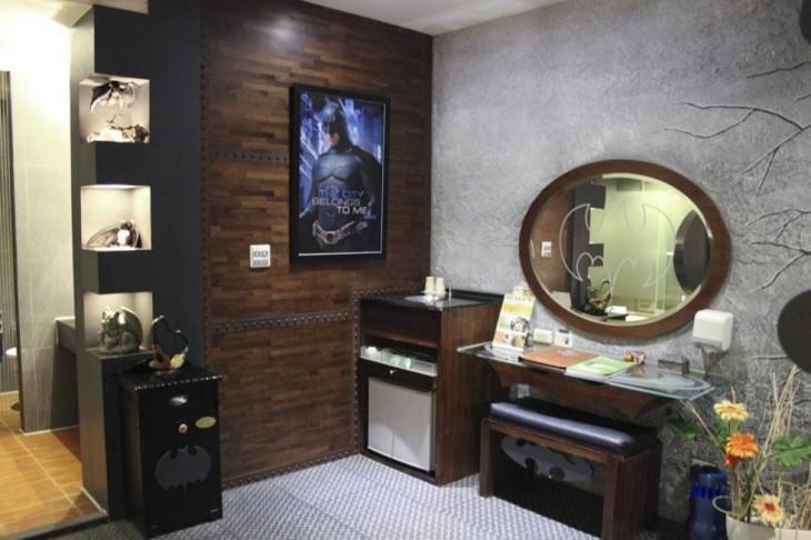 habitación de un hotel en Taiwán con el diseño de Batman
