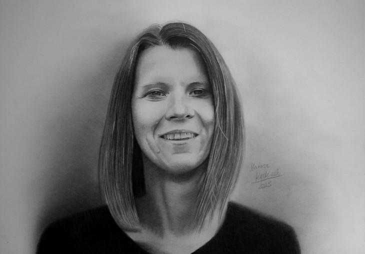 Dibujo del rostro de una mujer por el artista Mariusz Kedzierski