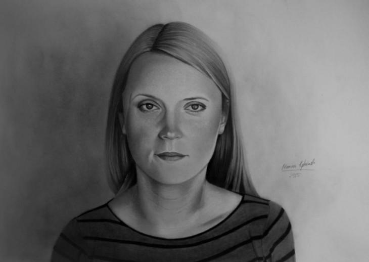 cara de una chica en un dibujo a lápiz por Mariusz Kedzierski