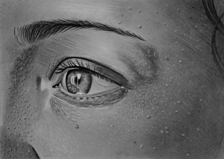 dibujo de la parte lateral y el ojo de una persona a cargo de Mariusz Kedzierski