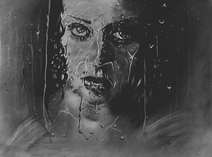 dibujo de una mujer detrás de gotas de agua por parte de Mariusz Kedzierski