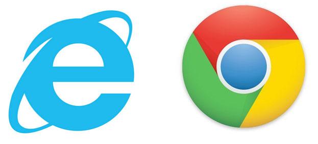 icono de internet explorer y el icono de chrome
