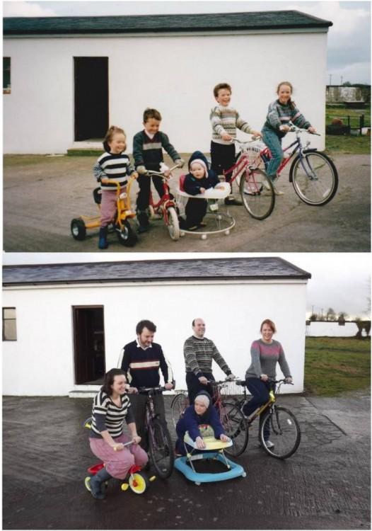 fotografía del antes y después de primos en sus juguetes