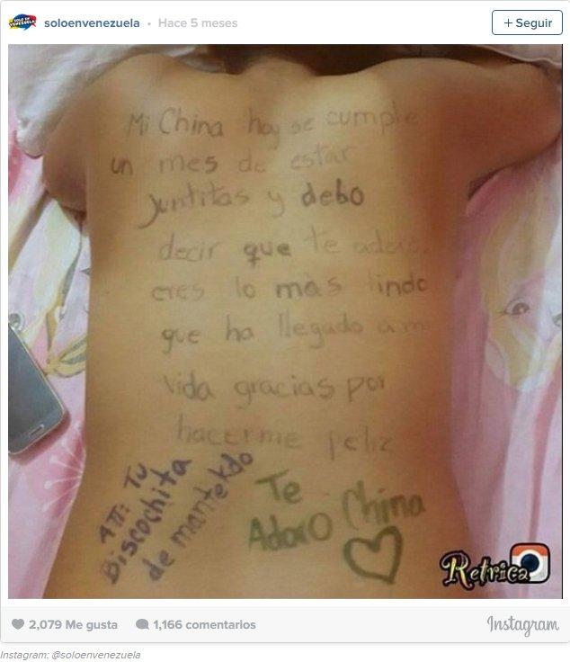 Captura de pantalla en instagram de un mensaje romántico en la espalda de una persona