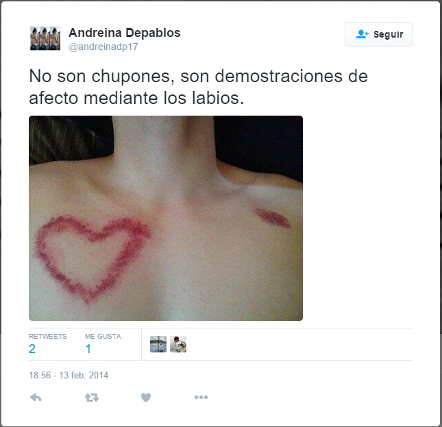 captura de pantalla de twitter del cuerpo de un chico con chupetones en forma de corazón