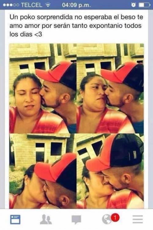 capturas de pantalla de Facebook de una pareja dándose besos