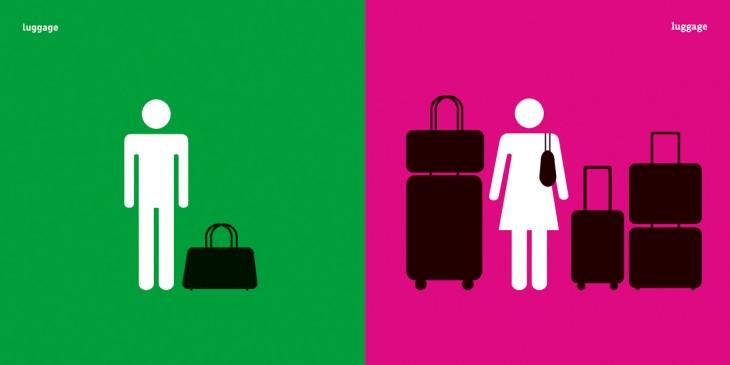 imagen que muestra la diferencia entre el equipaje de un hombre y el equipaje de una mujer