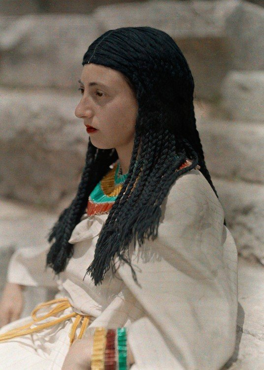 "Portrait of a daughter of Danaus acting in ""The Suppliant Maidens"" on Mount Parnassus in Greece, December 1930."